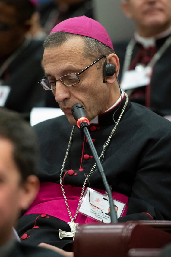 Bishop Frank J. Caggiano of Bridgeport, Conn., addresses a session of the Synod of Bishops on young people, the faith and vocational discernment at the Vatican Oct. 4.