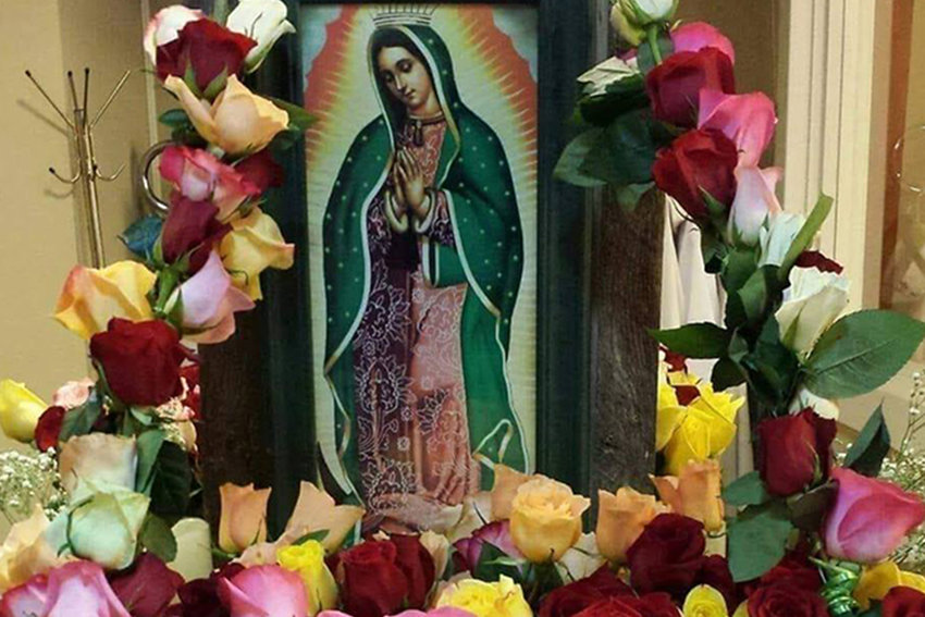 Flowers for the Blessed Mother adorn the image of Our Lady of Guadalupe in St. Brendan Church in Mexico during the 2017 feastday celebration.