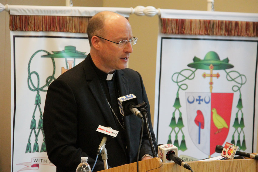 Bishop McKnight addresses Chancery staff and members of the media at a Nov. 8 press conference in the Alphonse J. Schwartze Memorial Catholic Center in Jefferson City