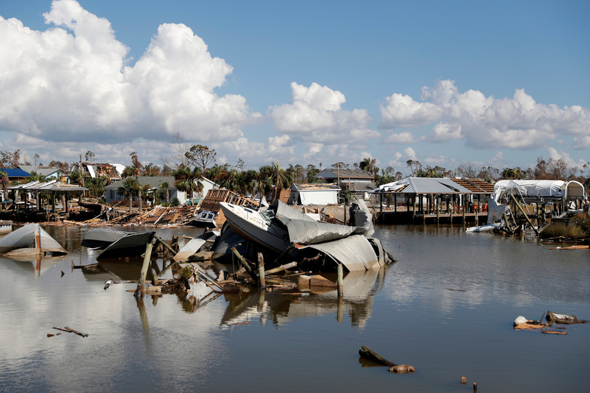 Damage caused by Hurricane Michael is seen Oct. 16 in Mexico Beach, Florida. A mental health professional who has been working with adults and Catholic school children in the hurricane-impacted Florida Panhandle said the Christmas season is a mixed blessing for survivors of natural disasters.