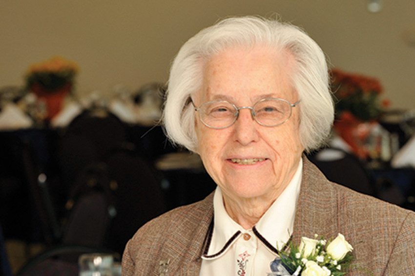 Sister Mary Teresa Noth FSM (1923-2018) attends her 90th birthday party given by the Saint Louis University School of Nursing in 2013.