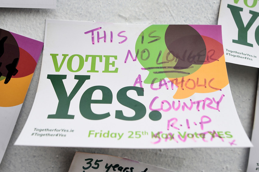 """A message about abortion is seen in Dublin, Ireland, May 27, 2018. The primate of All-Ireland insisted that the country's new abortion law that took effect Jan. 1 has """"no moral force"""" and it """"must be resisted"""" by Catholics."""