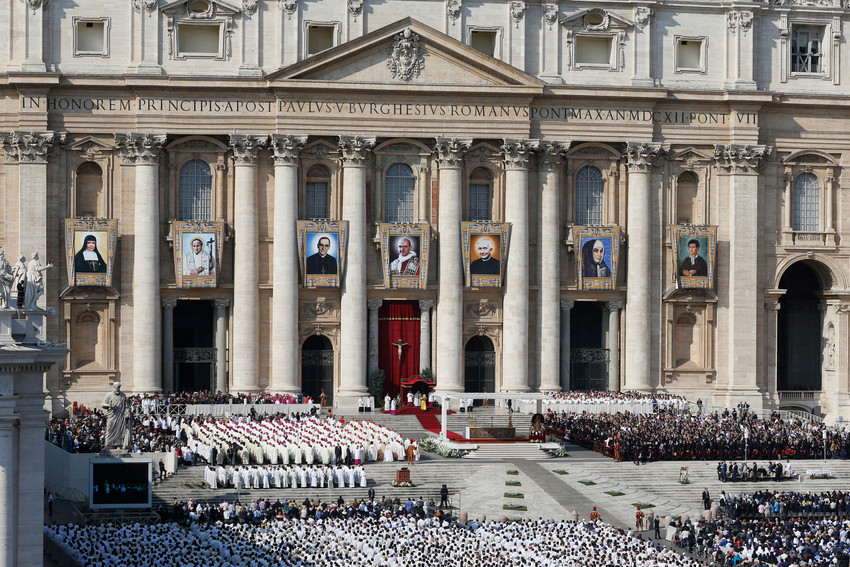 Pope Francis celebrates the canonization Mass for seven new saints in St. Peter's Square at the Vatican Oct. 14, 2018. Pope Francis advanced the sainthood causes of three women and recognized the martyrdom of 14 religious sisters who were killed during the Spanish Civil War.