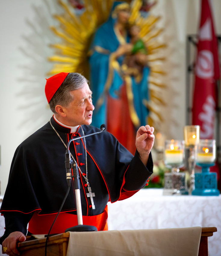 Chicago Cardinal Blase J. Cupich leads a catechesis session for World Youth Day pilgrims at the Parish of Our Mother of Perpetual Help in Panama City Jan. 25, 2019.