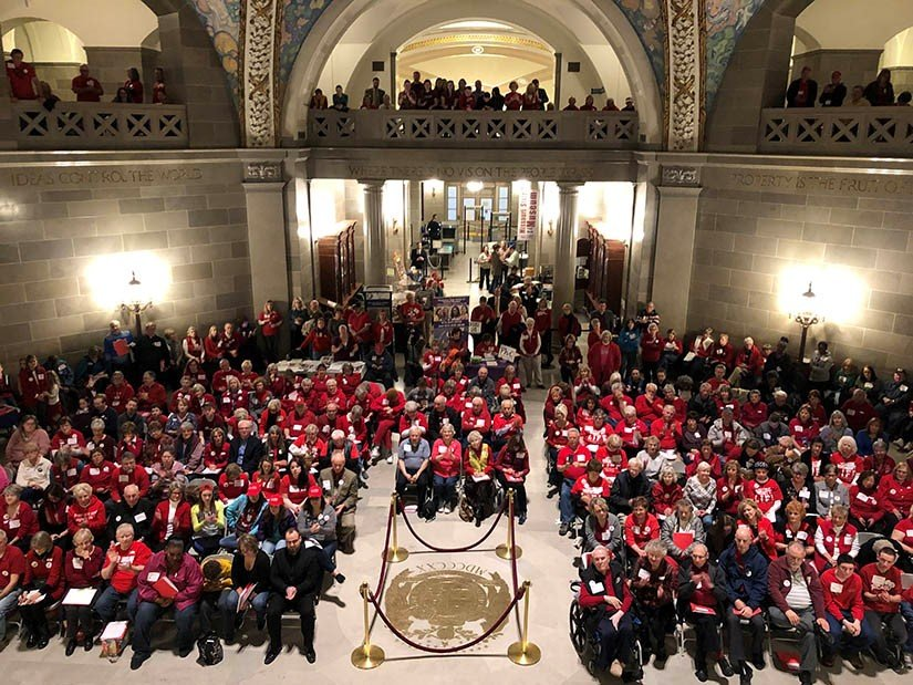 A crowd of pro-life supporters gathered in the Capitol rotunda as part of the pro-life lobby day sponsored by Missouri Right to Life. Attendees were able to visit with legislators and hear several pro-life speakers.