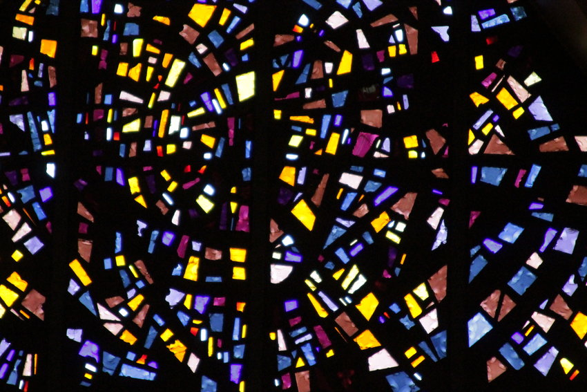 Close-up image of one of the colorful stained-glass windows in the Cathedral of St. Joseph in Jefferson City.