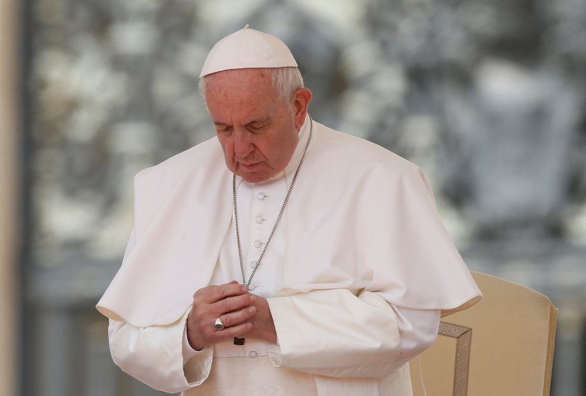 Pope Francis prays during his general audience in St. Peter's Square at the Vatican May 22, 2019. The Pope led thousands of pilgrims in prayer for Daughter of Jesus Sister Ines Nieves Sancho, a 77-year-old Spanish missionary who was killed May 20 outside her convent in Nola, Central African Republic.