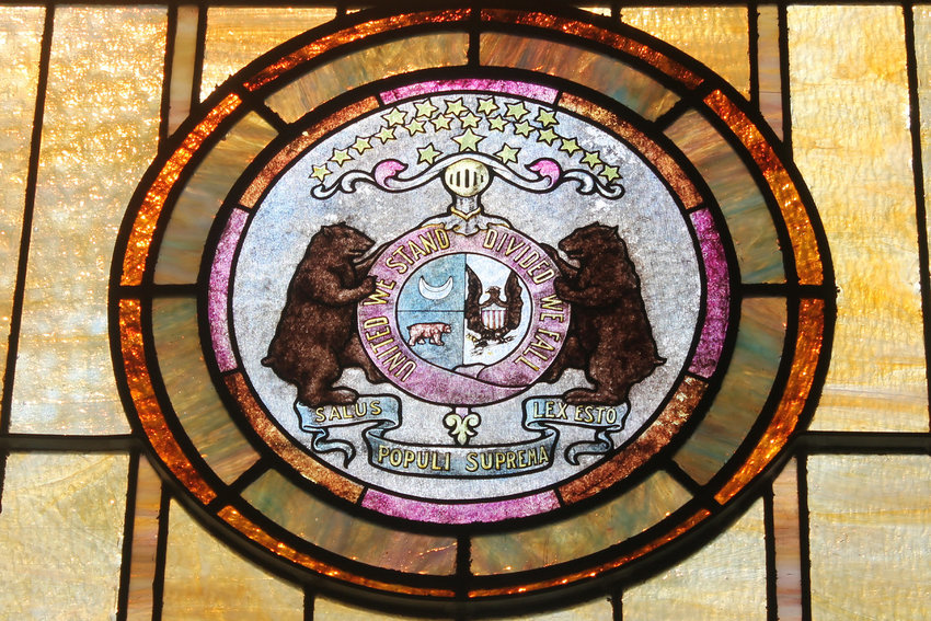 The Great Seal of the State of Missouri is depicted in stained glass in St. Mary Church in Milan.