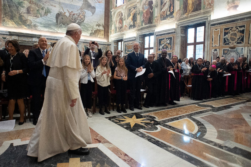 Pope Francis greets family members during an audience with participants attending an international conference of pro-life and medical leaders, at the Vatican May 25, 2019. Speaking about abortion the Pope said it is never licit to eliminate a human life nor hire a hitman to resolve a problem.