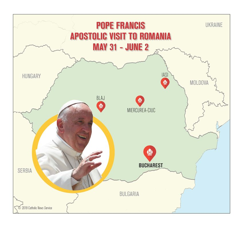 Pope Francis will visit Romania May 31-June 2.