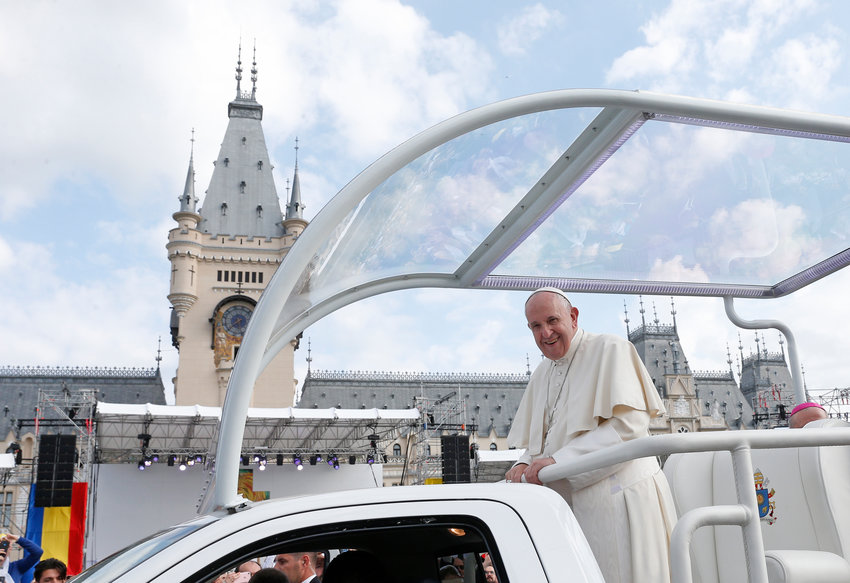 Pope Francis arrives for a Marian gathering with young people and families in the square outside the government Palace of Culture in Iasi, Romania, June 1, 2019.