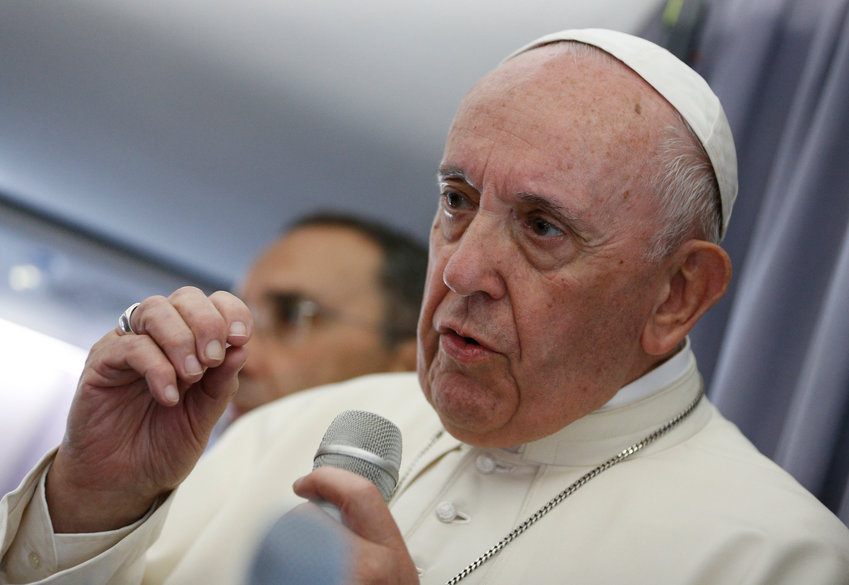 Pope Francis answers questions from journalists aboard his flight from Sibiu, Romania, to Rome June 2, 2019.