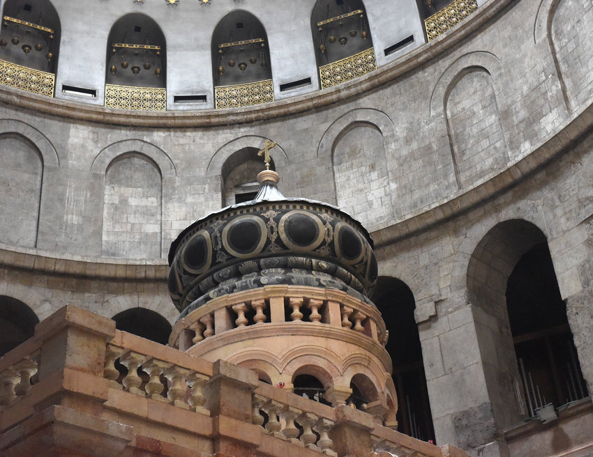 The dome of the Edicule, the traditional site of Jesus' burial and resurrection, is seen after restoration work at the Church of the Holy Sepulcher in Jerusalem March 23, 2017. Speakers at a July 18, 2019, conference in Washington argued that restoring Churches in violence-plagued sections of the Middle East will help foster the return of Christians who fled the strife, as well as introduce greater stability to the region.