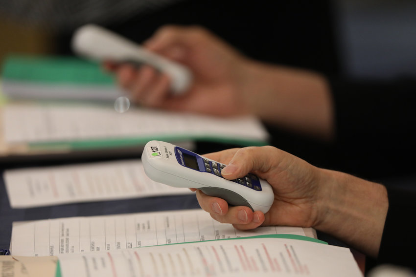 Bishops use electronic voting devices during the spring general assembly of the U.S. Conference of Catholic Bishops in Baltimore June 12, 2019. The bishops are scheduled to elect the next president and vice president of the USCCB during their fall general assembly Nov. 11-13 in Baltimore.