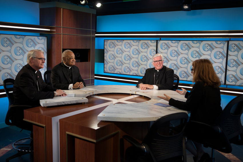 Catholic News Service reporter Carol Zimmermann moderates a roundtable on the death penalty at the headquarters of the U.S. Conference of Catholic Bishops in Washington Oct. 10, 2019. Pictured are: Archbishops Paul S. Coakley of Oklahoma City and Wilton D. Gregory of Washington and Bishop Frank J. Dewane of Venice, Fla.