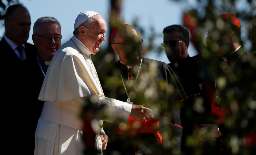 Pope Francis arrives to attend a celebration marking the feast of St. Francis in the Vatican Gardens October 4, 2019.
