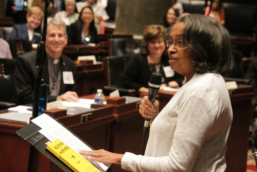 Lois Thomas, a member of Immaculate Conception parish in Jefferson City, discusses how faith motivates and strengthens her in ministering to men and women in prison, during this year's Missouri Catholic Conference Annual Assembly in the State Capitol.