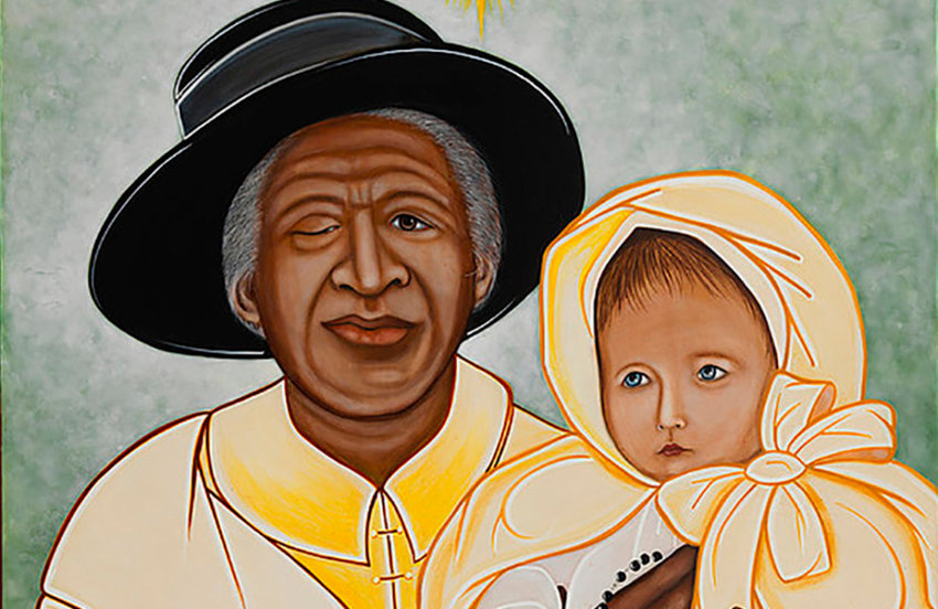This icon depicting Servant of God Julia Greeley (ca.1833-1913) and a child, is based on an actual photo of her.