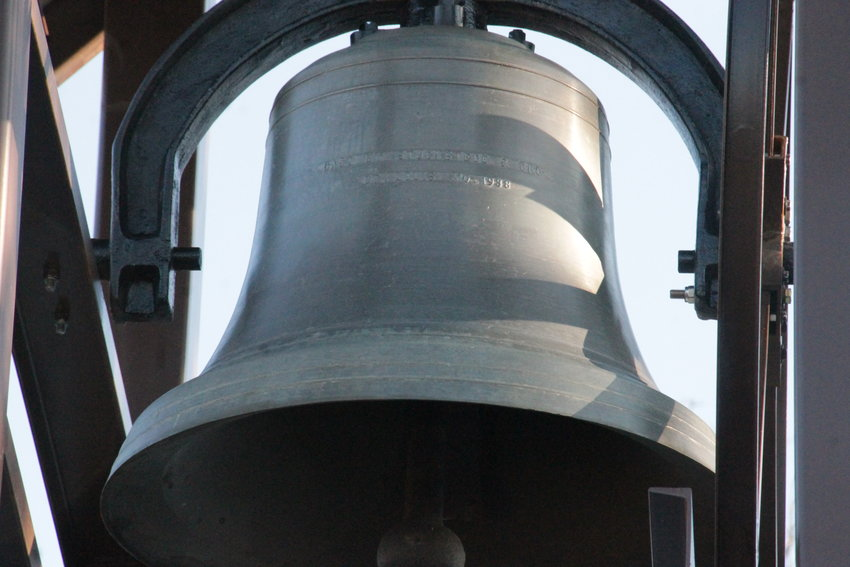 The bell in the new bell tower outside St. Jude Church in Richland was cast in St. Louis in 1938.