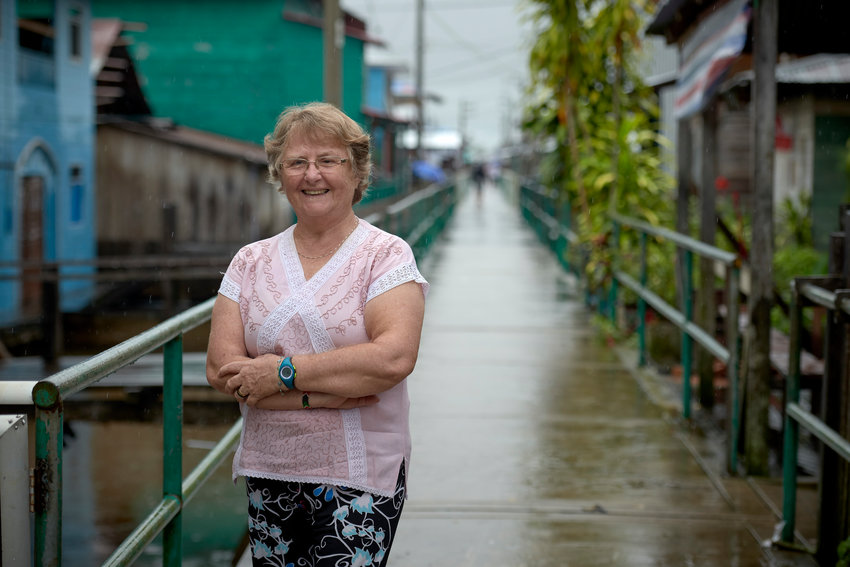 Sister Maria Emilia Molenda Kuche of Parana, Brazil, a member of the Missionaries of Jesus Crucified, is pictured March 28, 2019, in Islandia, a town in the Peruvian Amazon, where she serves.