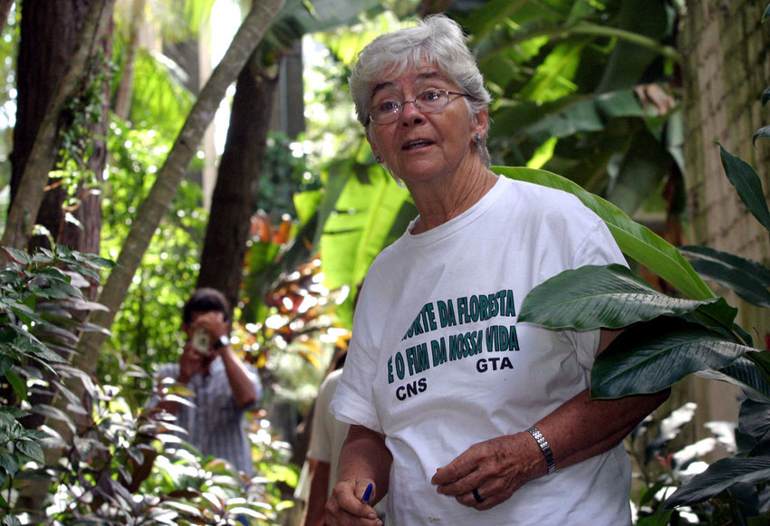 U.S.-born Sister Dorothy Stang, a member of the Sisters of Notre Dame de Namur, is pictured in a 2004 file photo in Belem, northern Brazil. The nun was 73 when she was murdered Feb. 12, 2005, on an isolated road near the Brazilian town of Anapu. She had lived in the country for nearly four decades and was known as a fierce defender of a sustainable development project for the Amazon forest.