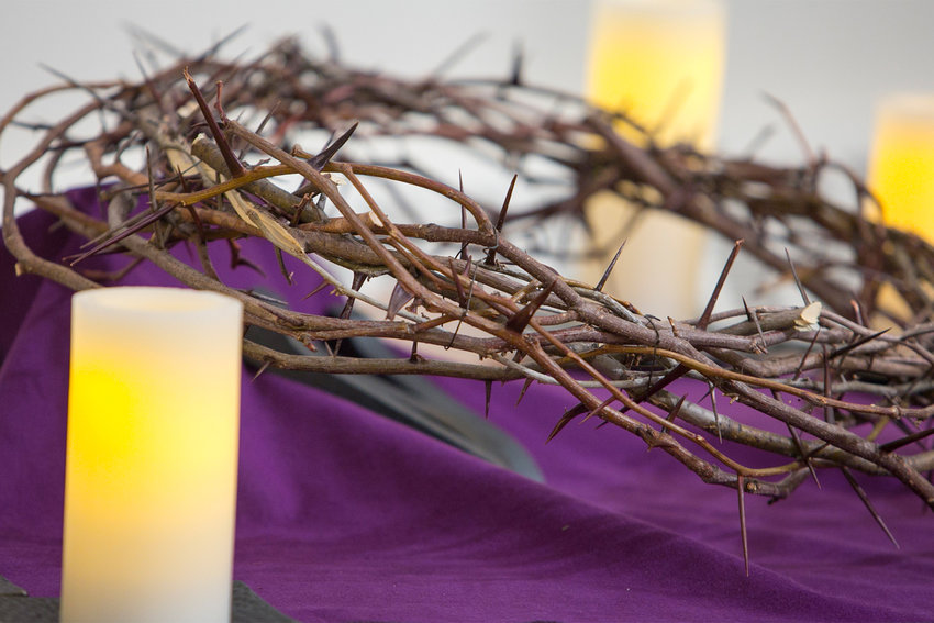 A crown of thorns is seen on Ash Wednesday at St. Bonaventure Church in Paterson, N.J., in this March 5, 2014, file photo. The lack of flowers at liturgies is as significant as their presence.