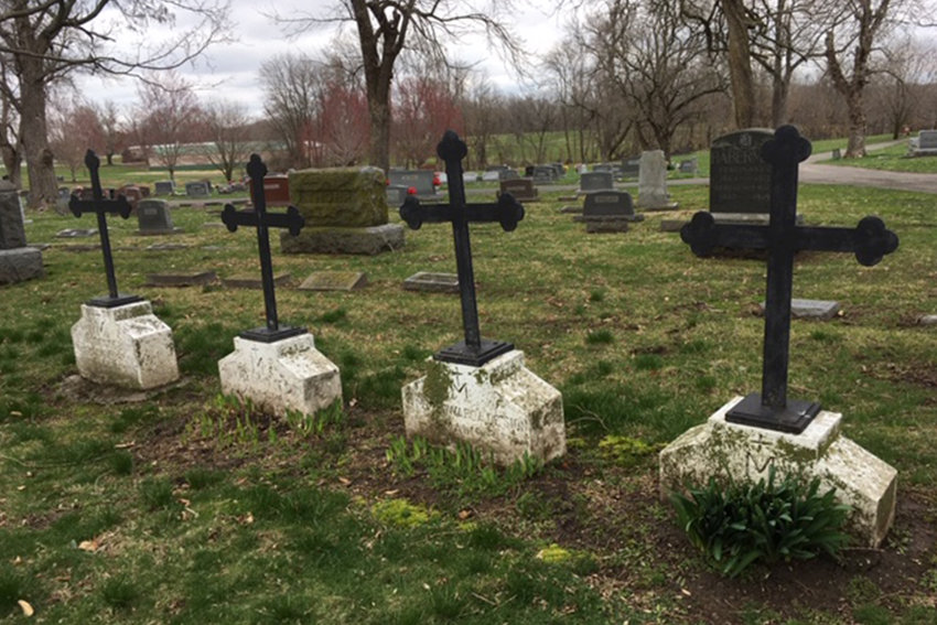 Four large, iron crosses in Ridge Park Cemetery in Marshall mark the final resting places of four Sisters of Notre Dame de Sion — Sister Marion de Sion, Sister Mary Maximin de Sion, Sister Mary Edwarda de Sion and Sister Mary Cornelius de Sion — who gave aid and comfort to others before meeting their own untimely deaths.