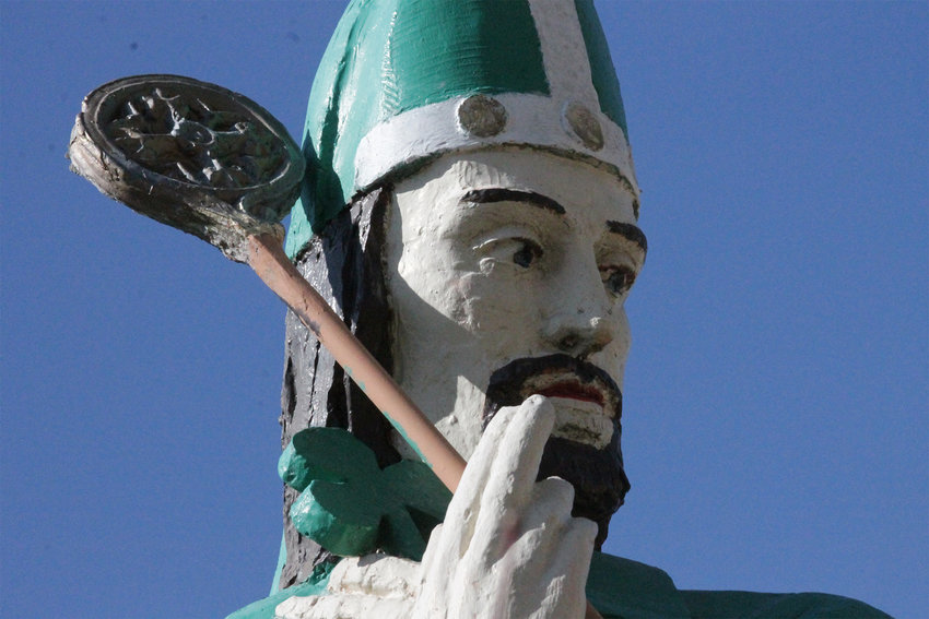 Originally intended to represent St. Oliver Plunkett, an Irish martyr, this statue outside St. Patrick Church in Jonesburg was refurbished to resemble St. Patrick while Father Jerry Kaimann was pastor.