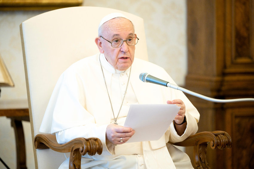 "Pope Francis speaks during his weekly general audience in the library of the Apostolic Palace at the Vatican June 3, 2020. During the audience, the Pope prayed for George Floyd and said, ""We cannot tolerate or turn a blind eye to racism."""