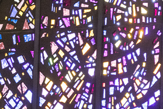 Sunlight cascades through one of the colorful stained-glass windows in the Cathedral of St. Joseph in Jefferson City.