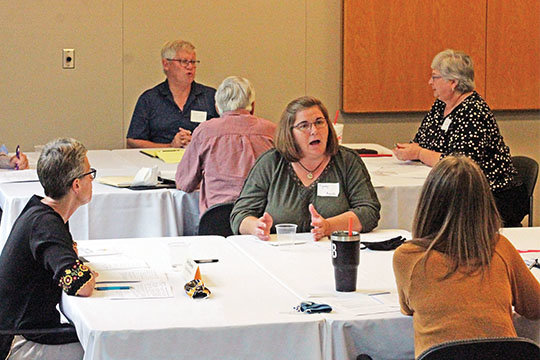 Parish representatives and members of the Diocesan Pastoral Council discuss aspects of a working document for a new pastoral plan for the Jefferson City diocese. The process of discerning a new plan — incorporating aspects of stewardship, co-responsibility and parishes as centers of mercy and charity — have been under way since December 2019. Bishop W. Shawn McKnight plans to release the final version in time for the First Sunday of Advent.