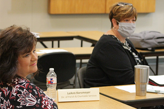 LeAnn Korsmeyer, diocesan director of parish and charitable services, and Dr. Erin Vader, diocesan superintendent of Catholic Schools, take part in discussion during the development of a new pastoral plan for the diocese.