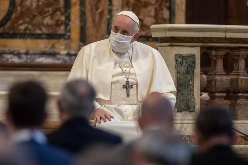 Pope Francis prays for peace with other religious leaders at the Basilica of Santa Maria in Ara Coeli in Rome Oct. 20, 2020.  In a new documentary, Pope Francis expressed openness to the idea of laws recognizing civil unions, including for gay couples, to protect their rights.