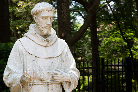 A statue of St. Francis of Assisi is seen on the grounds of the Franciscan Monastery of the Holy Land in America in Washington June 27, 2019.