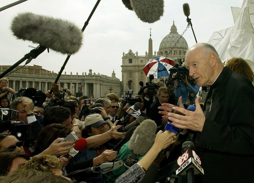 Then-Cardinal Theodore E. McCarrick of Washington faces the press in the shadow of St. Peter's Basilica at the Vatican April 24, 2002. U.S cardinals met for a summit with Pope John Paul II at the Vatican April 23-24, 2002, as the sex abuse crisis unfolded in the United States. Cardinal McCarrick was a key spokesman for the bishops during the summit.