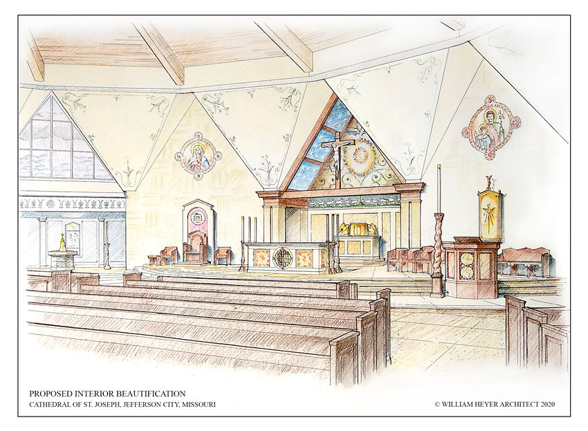 An architect's rendering suggests what the inside of the Cathedral of St. Joseph in Jefferson City will look like under a renovation proposal shared Nov. 9 with Cathedral parishioners and the people of the diocese.