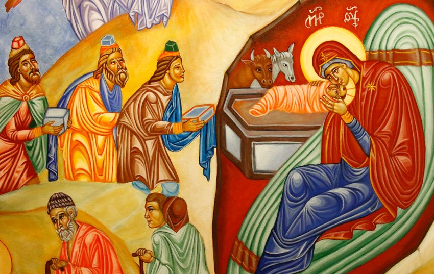 The adoration of the Magi is depicted in this icon by artist Ayman Fayez. The feast of the Epiphany is observed Jan. 3 in Latin-rite churches in the U.S.