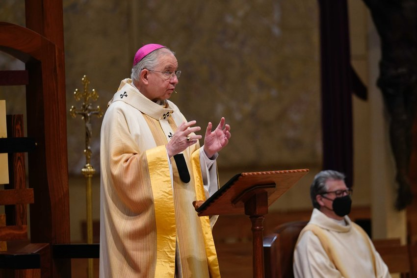 Archbishop José H. Gomez of Los Angeles, president of the U.S. Conference of Catholic Bishops, celebrates the National Mass on the Solemnity of St. Joseph at the the Cathedral of Our Lady of the Angels in Los Angeles March 19, 2021.