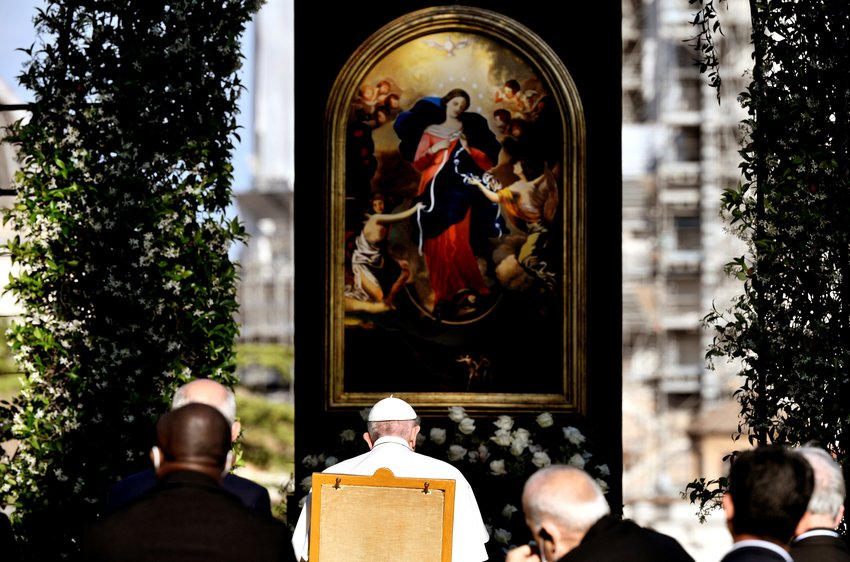 Pope Francis leads an evening Marian prayer service in the Vatican Gardens May 31, 2021. The serviced finished a monthlong rosary marathon to pray for the end of the COVID-19 pandemic. (CNS photo/Filippo Monteforte, Reuters pool)