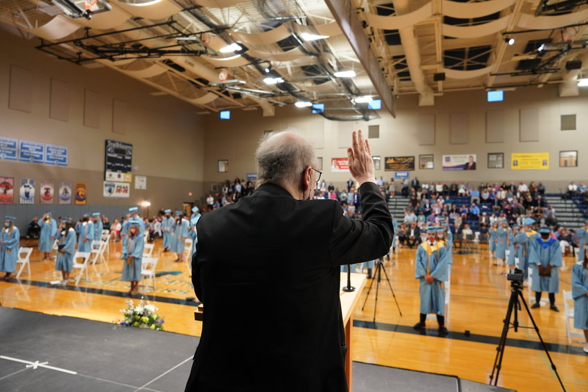 Father Michael Coleman blesses Fr. Tolton Regional Catholic High School's newly graduated Class of 2021.