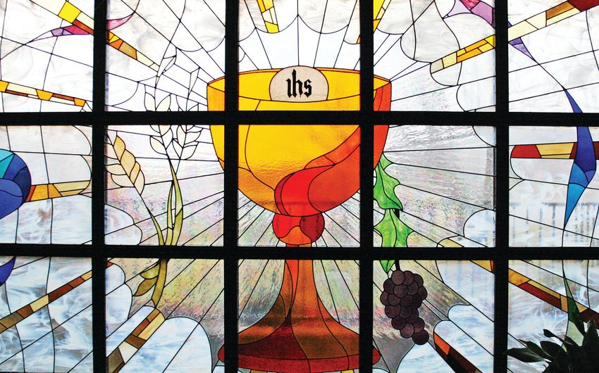 This magnificent art-glass window in St. Anthony Church in Camdenton depicts the Eucharist as the source and summit of the Christian life and the focal point of Christian community.