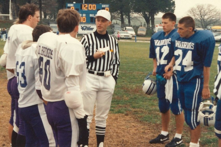 David Sturm officiates a semi-final football game at Valle Catholic High School in Ste. Genevieve in the early 2000s.