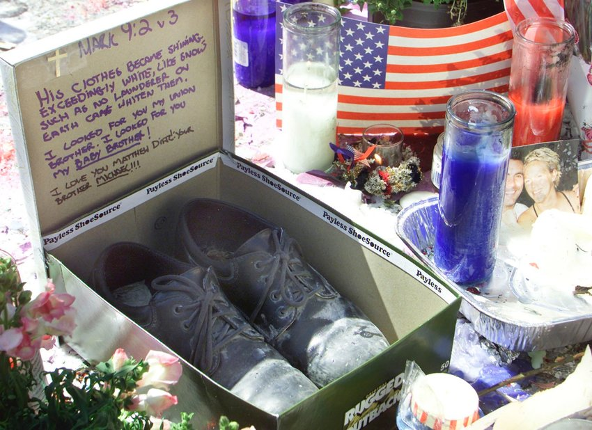 A pair of shoes are left on Sept. 17, 2001, in New York's Union Square with a message of love from a family member. An extensive memorial was set in the area in memory of the victims of the Sept. 11 World Trade Center terrorist attacks.