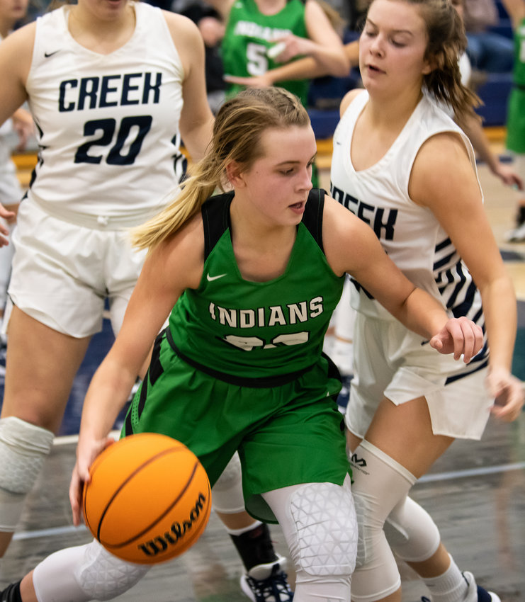 Murray County's Ella Dotson scored 16 points and pulled down eight rebounds in a close loss to LaFayette on Saturday.