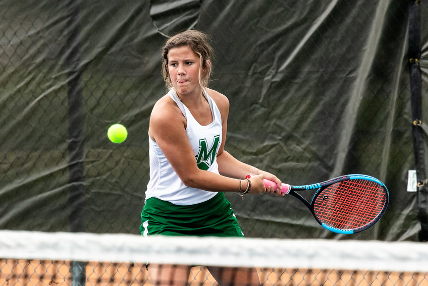 Braelyn Tallent sets up for a backhand return against Stephens County on Friday.