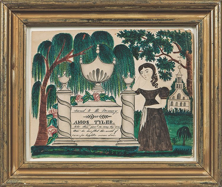 This watercolor is a mourning picture made about 1830. It is in a 7- by 9-inch frame. The picture sold for more than $22,000