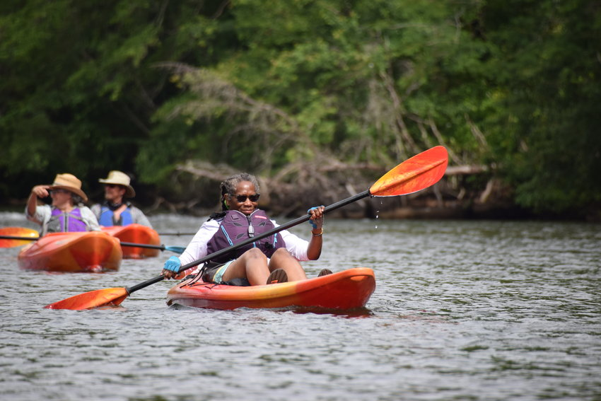 Georgia River Network paddle participants explore the pristine and historic 10-mile Tugaloo River Water Trail in celebration of the water trail's establishment within the organization's Georgia Water Trails Network.