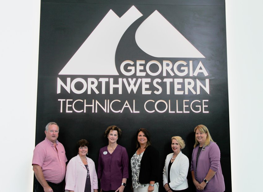(From left to right) Paul Meredith, member of GNTC's Board of Directors and Mohawk senior technical director; Linda McEntire, Mohawk director of technical training; Sherrie Patterson, chair of the GNTC Foundation Trustees; Becky Redd, GNTC Foundation Trustee and Mohawk senior HR director of talent management; Lauretta Hannon, GNTC director of Institutional Advancement; and GNTC President Dr. Heidi Popham.