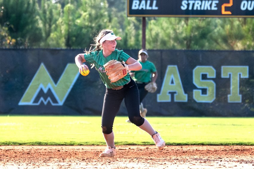 Murray County shortstop Alyssa Usrey scoops up a ground ball and fires to first in a recent Lady Indians game. Usrey is a tenacious defensive player and strong hitter as well.