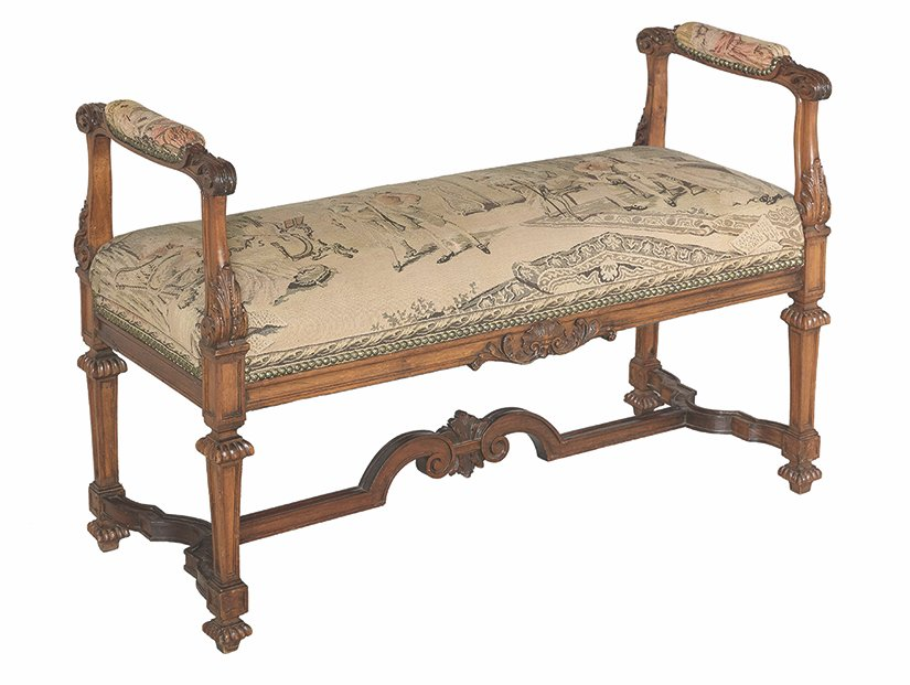 This French window bench was in style the last half of the 18th century. Although it was made to use by a window, it is popular with decorators today as a hall bench or a seat at the end of a bed. This bench sold for about $1,600 at an auction.